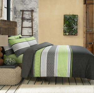 Topaz Green Cotton Doona Duvet Quilt Cover Queen Size With Pillowcases Set