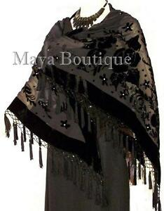 Black Shawl Wrap Scarf Silk Burnout Velvet Triangle With Fringes Maya Matazaro
