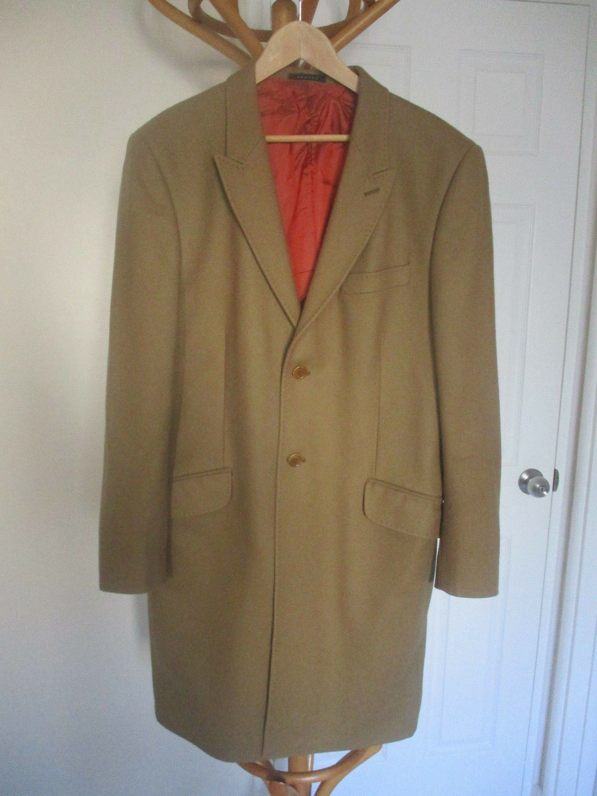 Herren PARKES BEIGE CAMEL FULL LENGTH WINTER COAT SIZE LARGE 40