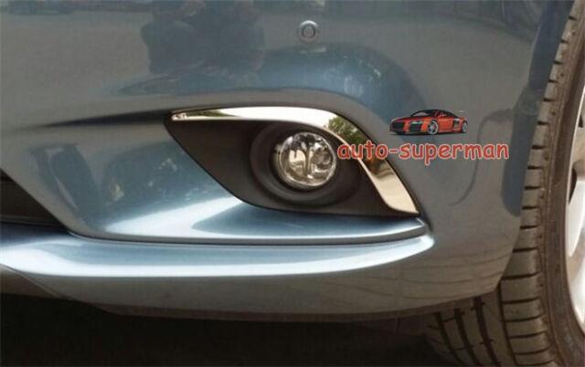 Stainless Steel Front Bumper Fog Light lamp cover trim Chrome Mazda6 2014 2015