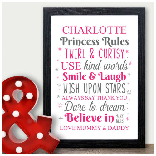 Princess Rules Personalised Gifts for Girls Daughter Granddaughter Birthday