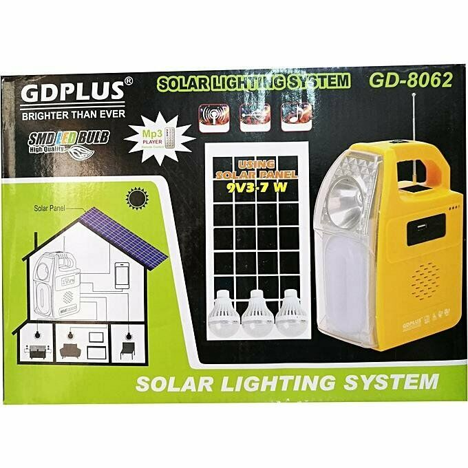 Solar Lighting System with built-in Speaker and FM radio and USB host and TF card slot