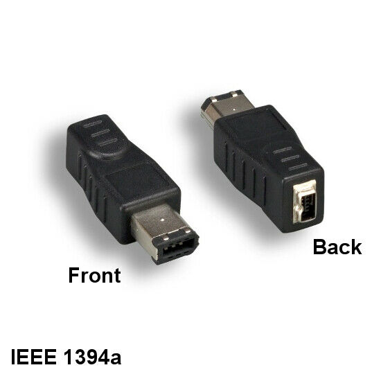 IEEE-1394a 6 Pin Male to 4 Pin Female Adapter for FireWire iLink PC Mac Sun