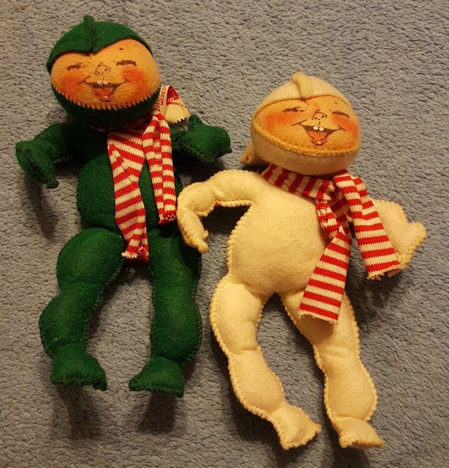 2 Raro muñeca Annalee mobilitee 7  Bebé Elfo Circa 1960 Ojos Cerrados Cara Sonriente