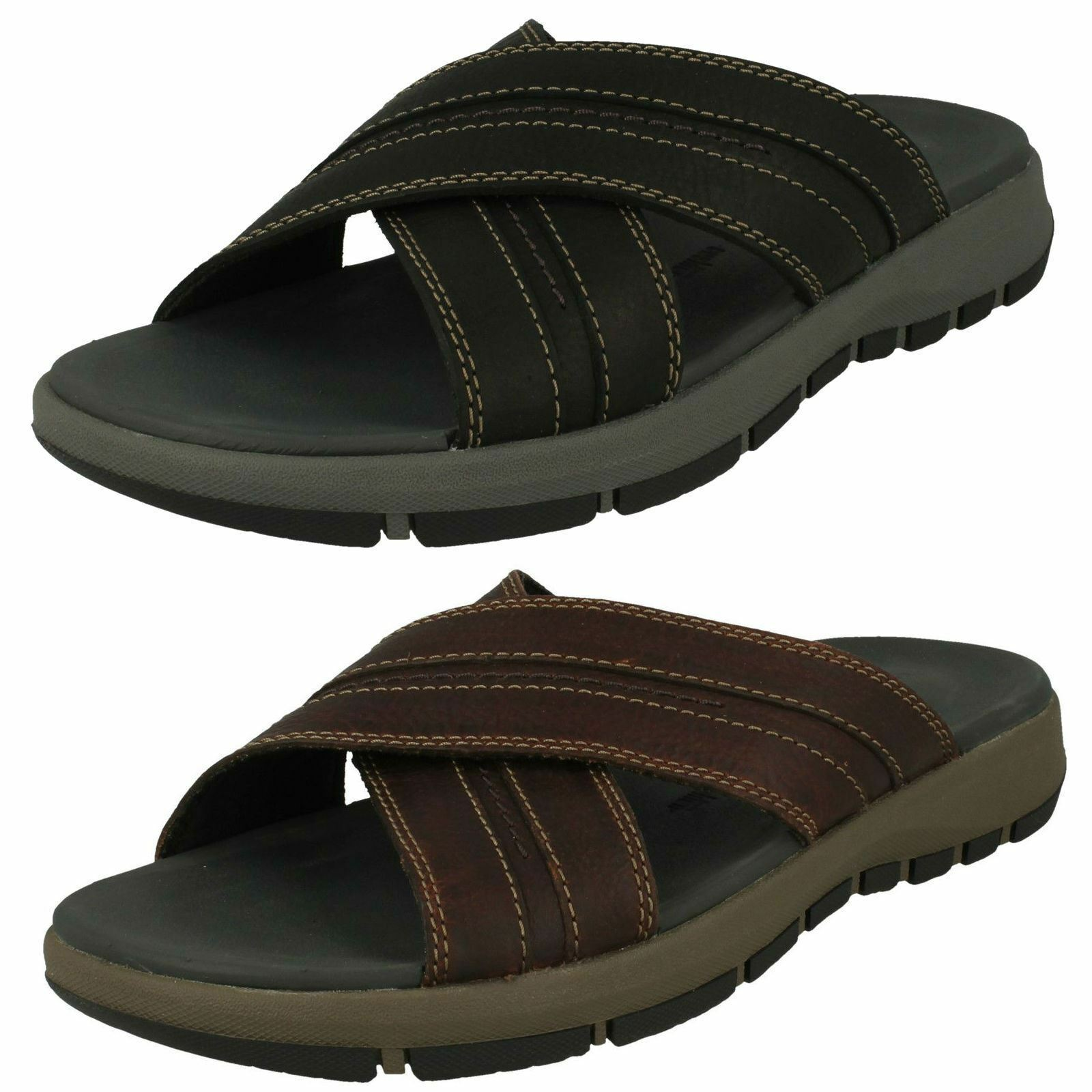 MENS CLARKS LEATHER SLIP ON CROSS OVER SUMMER MULE SANDALS SHOES BRIXBY CROSS