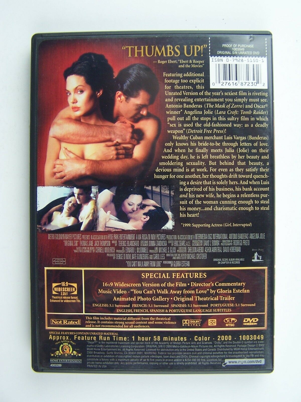 Original Sin Unrated Edition DVD Antonio Banderas Angel