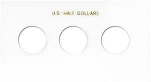 Capital Plastic Holder For 3 US Half Dollars No Dates White Display Snaplock New