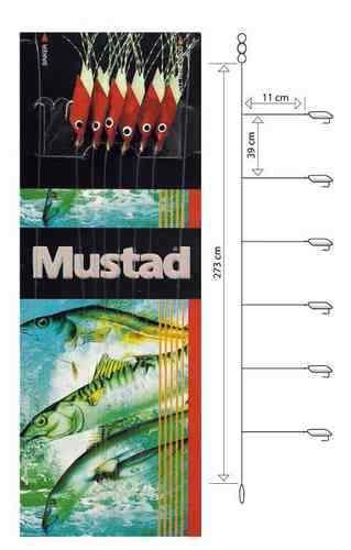 Mustad Piscator X-red Rig T93 Makrelenvorfach Meeresvorfach Heringvorfach