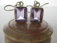 Amethyst Silver Earrings Awesome Light Purple Cut Stones