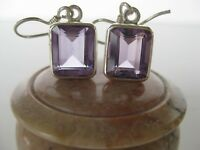 Amethyst Silver Earrings Awesome Light Purple Cut Stones
