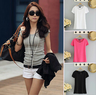 New Women's Round Neck T-Shirt Cotton Stretch Short Sleeve Shirt Blouse Tops Tee