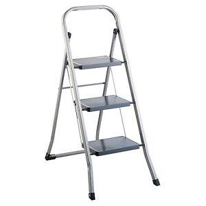 Klapptritt-Stahl-3-Stufen-Haushaltsleiter-Stehleiter-Sprossenleiter-Klappleiter
