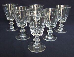 St-Saint-Louis-et-Baccarat-6-verres-a-vin-Cristal-Modele-Caton-19e-siecle-9-5cm