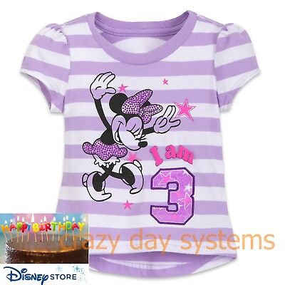 Disney Store Girls Minnie Mouse Birthday Tee Size 3 Baby Girl I am 3 NEW