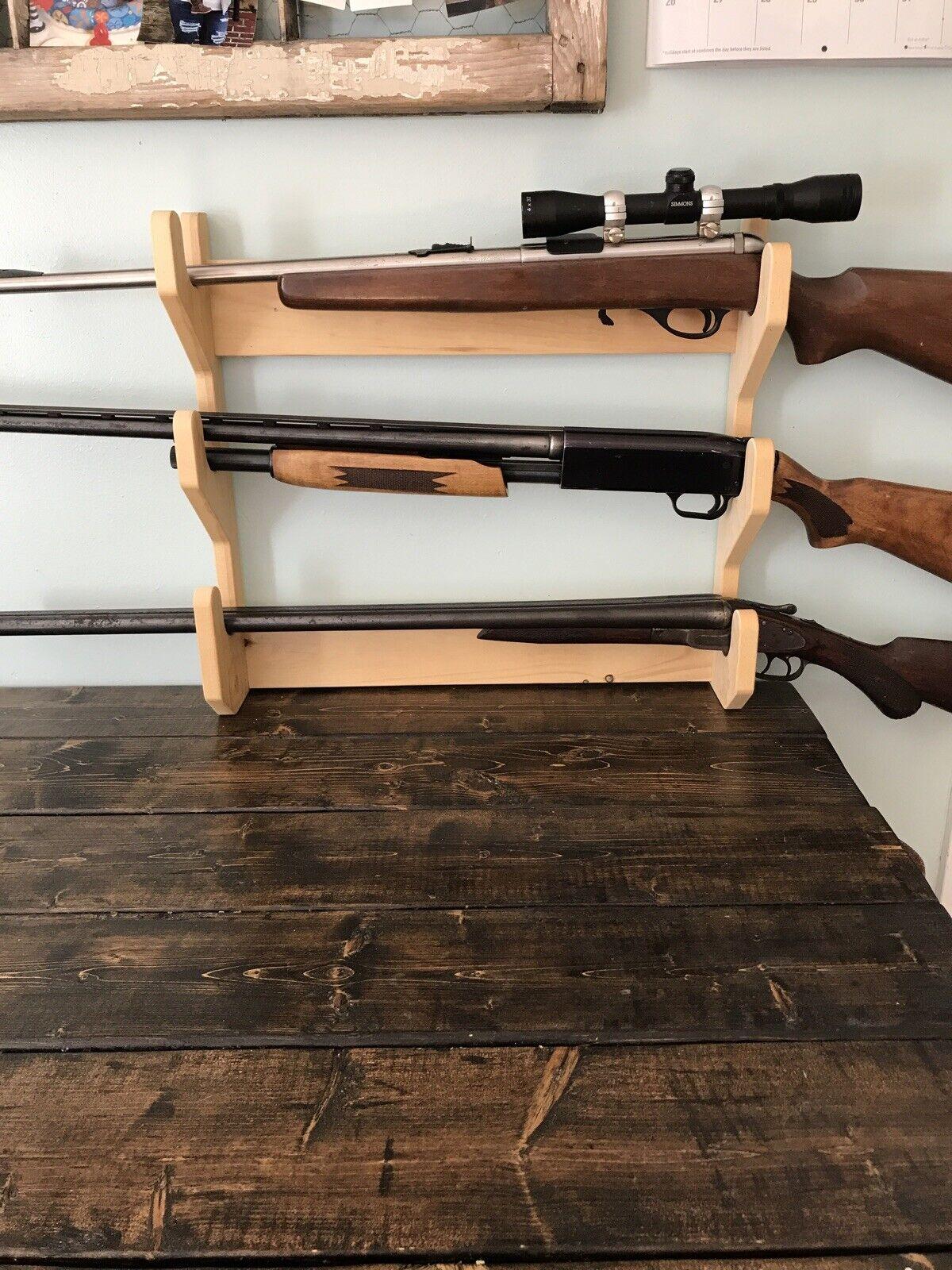 HANDMADE SOLID PINE  4 Gun Gun Rack Rifle Shotgun Wall Mount  NEW