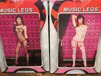 Music Legs Bodystocking Kiss Marks Faux Garterbelt Design 1 Sz 2 Colors