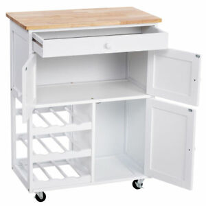 Details about Wood Top White Rolling Kitchen Cart Serving Table Island  Cabinet Wine Rack Wheel