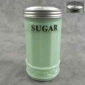 JADEITE GREEN GLASS SUGAR SHAKER with FLIP SPOUT DISPENSER ~ DINER STYLE ~