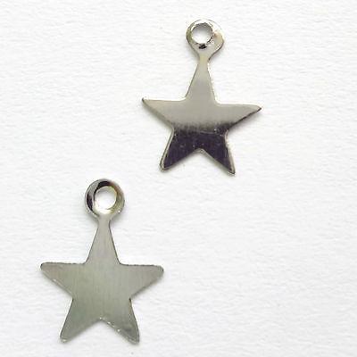 100 Silver Tone  9x8mm Flat Star Charms Jewellery Making