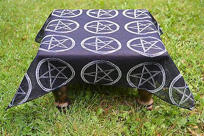 """Black Altar Cloth with Pentagram design 21"""" x 21""""  ~ Ritual ~ Altar"""