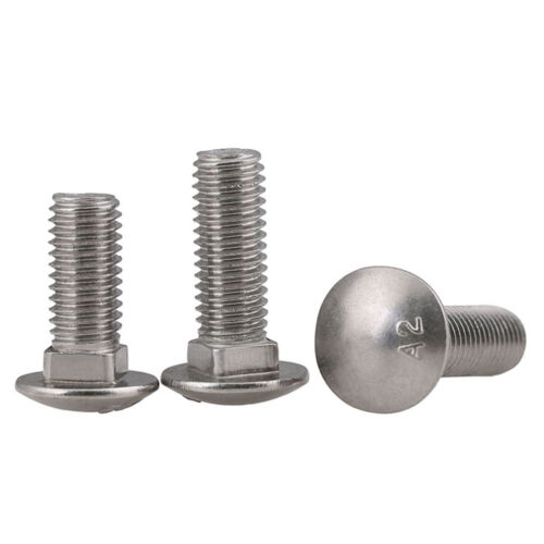 M8 x 1.25 mm  8mm Carriage Bolts 304 Stainless Steel Round Head Square Neck