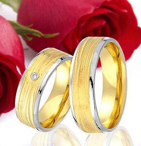 2-SILBER-Partner-Ringe-Trauringe-Eheringe-Gravur-Gratis-GOLD-Plattiert-T322