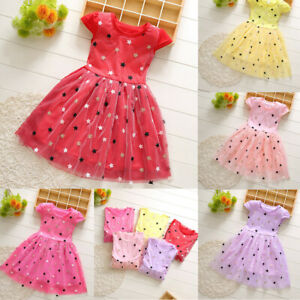 Summer-Toddler-Baby-Kids-Girls-Patchwork-Stars-Tulle-Princess-Dresses-Clothes