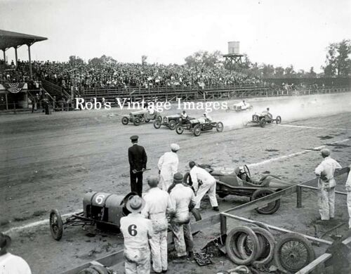 Indy car Dirt Track Automobile Racing Photo Poster Vintage 1917
