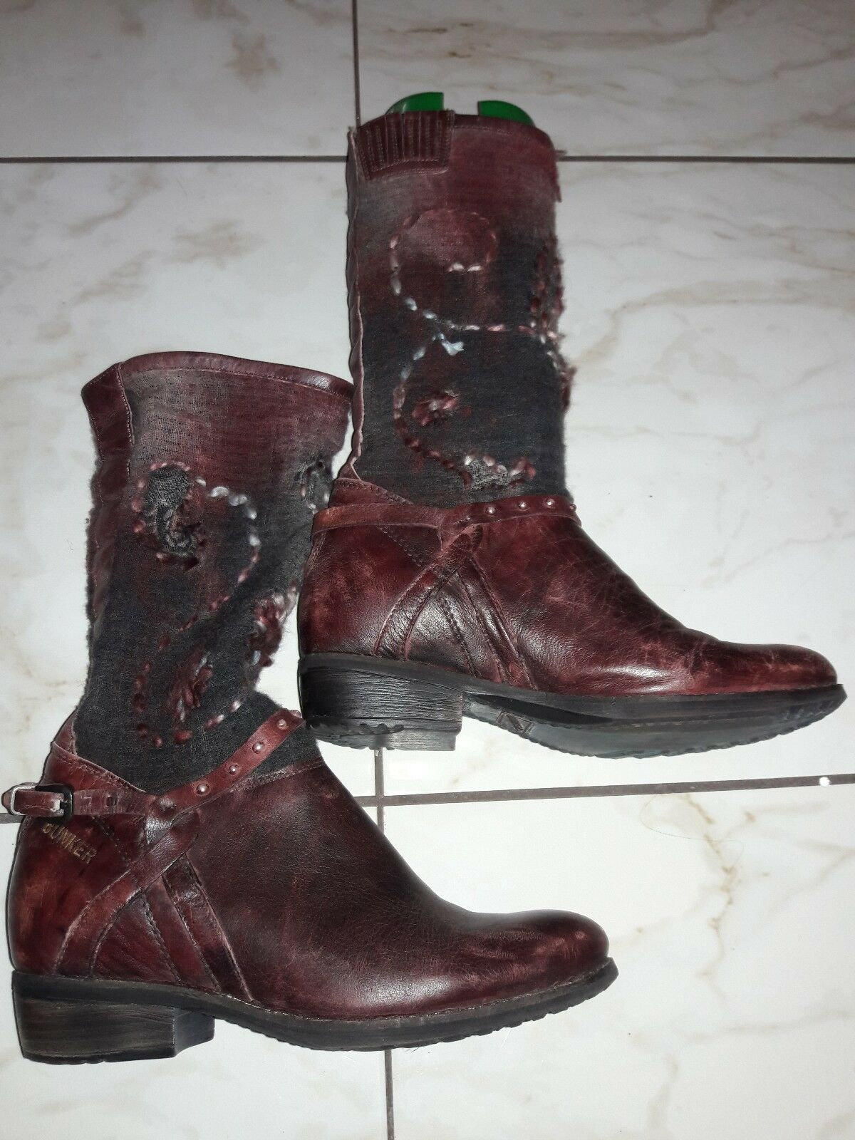 Bunker new Knit Donna Size 40 red Brown burgundy  Boot Boot  fabric leather b87b13