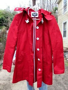 D-amp-G-DOLCE-GABBANA-Red-Trench-Coat-with-White-Buckle-Size-40-Raincoat