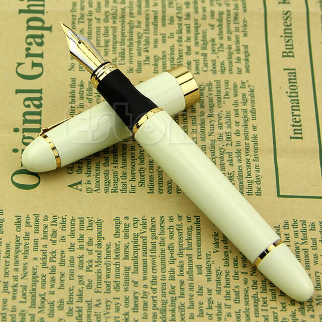 New Jinhao X450 Fountain Pen White Medium Nib Gold Trim