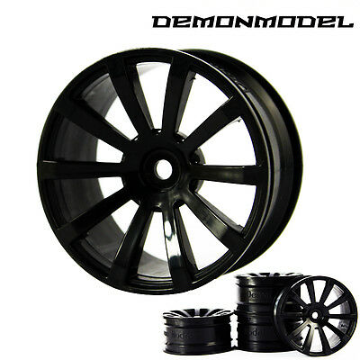 4PCS Wheel  Rim For HSP HPI 1/10 RC On Road Racing Flat Drifting car Rim Black