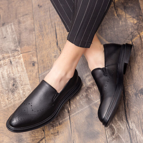 Details about  /Men/'s Low Top Dress Formal Faux Leather Shoes Pointy Toe Oxfords Slip on Party D