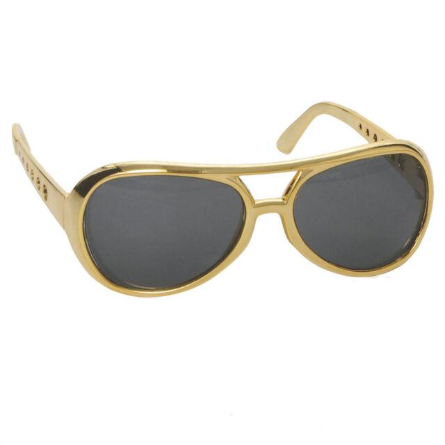 Elvis Presley Costume Glasses 50s Rock & Roll Las Vegas Party Gold Frame