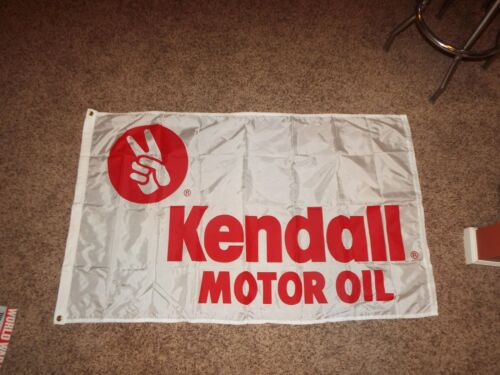 "NEW IN PACKAGE VINTAGE 35/"" x 59/"" Nylon KENDALL MOTOR OIL FLAG FREE SHIPPING"
