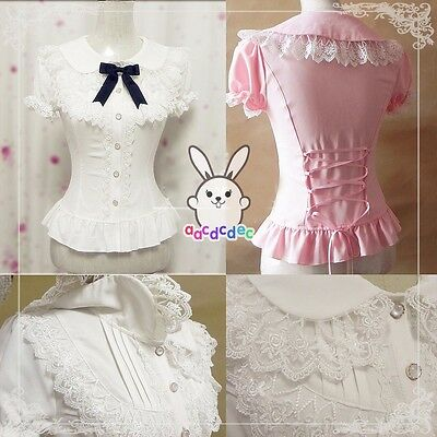 Lolita Falbala White Slim Lace Blouse Chiffon Shirt Women Cute Short Tops Lady