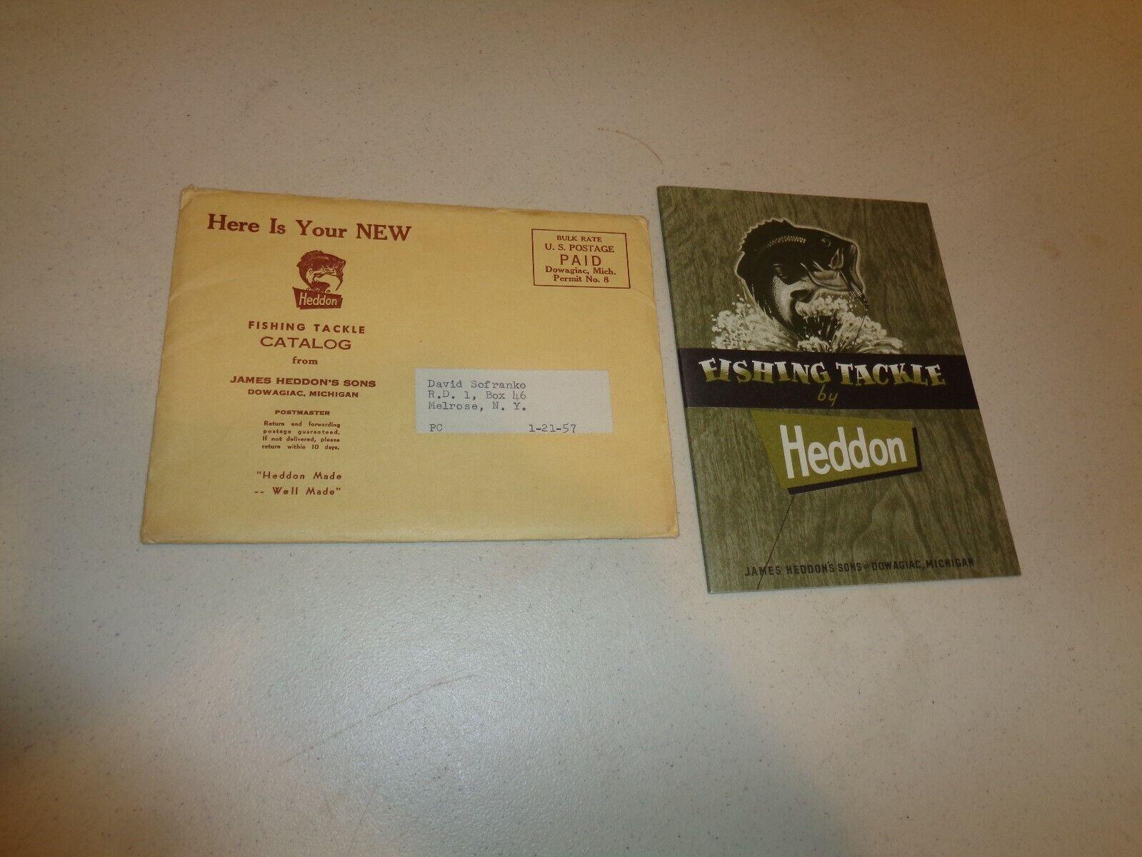 VINTAGE 1957 Heddon Fishing Tackle scatola catalogo dimensioni, 5 x 634 CON autobusTA