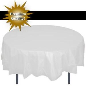 Image Is Loading Premium White 84 034 Round Plastic Tablecloth Party