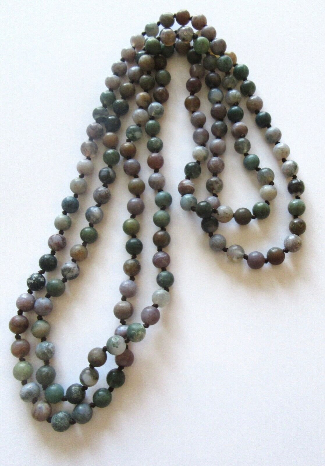Fashion Necklace--Natural Stones round beads -green purple gray white -62