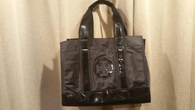 ad92fd8025d TORY BURCH Ella Black Nylon   Patent Leather Tote Shoulder Bag
