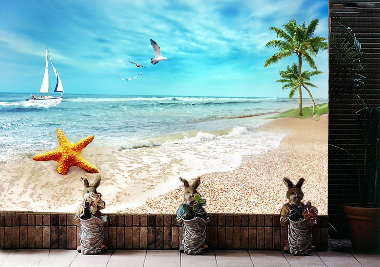 3D Seestern Möwe Strand 77 Tapete Wandgemälde Tapete Tapeten Bild Bild Bild Familie DE   Fuxin    Neuer Eintrag    New Listing  ab65da