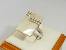 Vintage Ladies Jewellery Sterling 925 Silver Mother of Pearl Art Deco Gift Ring