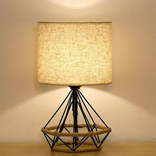 Industrial Style End Table Lamp Minimalist Bedside Light Sturdy Metal Cage Base
