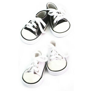 2-Pair-of-Doll-Lace-Up-Canvas-Sneakers-Shoes-for-18-039-039-AG-American-Doll-Dolls