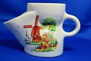 Vintage Antique Shaving Mug Jug Scuttle Windmill Floral Design Crackle Glaze