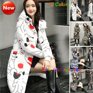 12-Colors-Womens-Winter-Down-Cotton-Coat-Jacket-long-parka-printing-Outwear