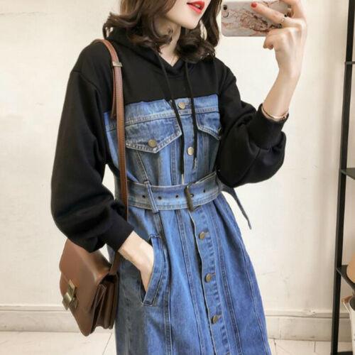 Women Dress Hooded Sweatshirt Splice Denim Skirt Belted Drawstring Button