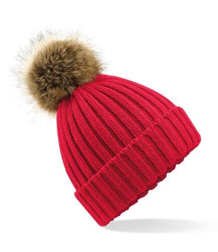 Removable Pom Heavy Ribbed Knit Beechfield Faux Fur Pop Pom Chunky Beanie