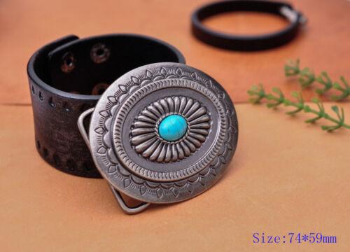 Vintage Charm Southeast Indian Navajo Flower Turquoise Leather Belt Buckle Huge