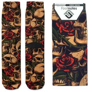 Skulls & Roses Crew Socks - Footnotes Novelty Socks